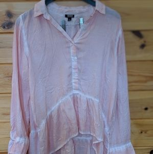 Pink hi-low blouse